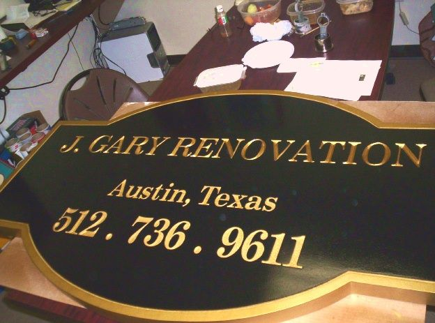 "SA28523 -  Distinctive Sign for""J. Gary Renovation"", with 24K Gold Leaf Gilded Text"