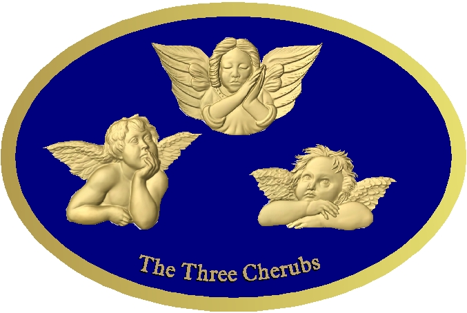 D13369 - Three Cherubs 3D carved and Gold-leaf gilded