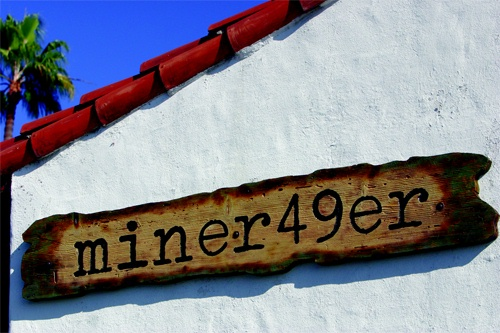 "SA28385 - Antique-Look Rustic Cedar Wood Sign for ""Miner 49er"" Retail Store."