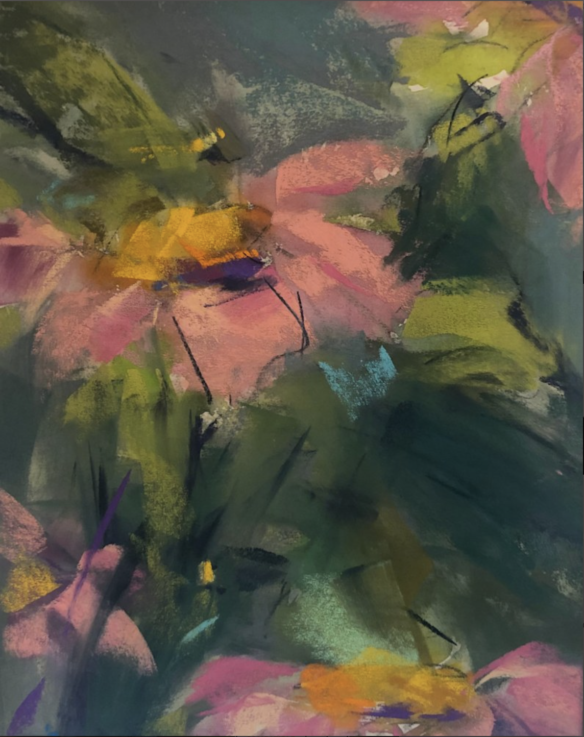 Flowers with Bees, pastel, 12 x 15in.