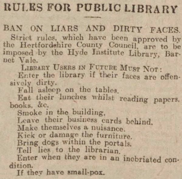 Hertfordshire county historic library rules