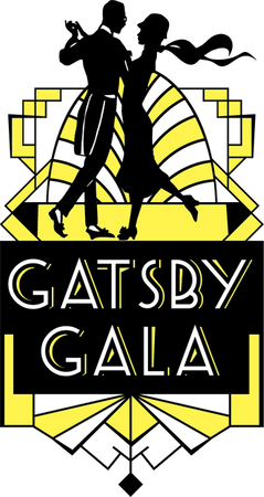 Graphic black and gold Gatsby Gala logo