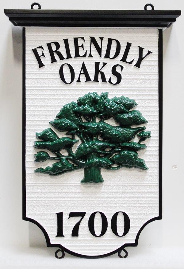 "I18324 - Carved 3-D HDU Residence Property Name , ""Friendly Oaks"" and Address Number Sign with 3-D Carved Oak"