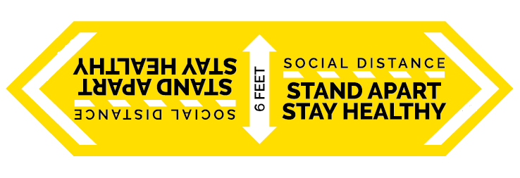 "24"" x 6.3"" Two-Way Social Distancing Graphic"