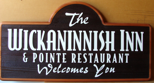 T29115- Carved and Sandblasted Cedar Wood  for the Wickannish Inn and Pointe Restaurant