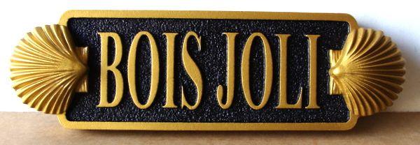 "L21888 - Carved HDU Quarterboard Property Name Sign ""Bois Jolie"" Sign for Coastal Residence, with 3-D Seashells"