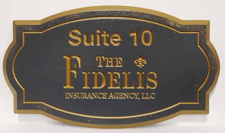 C12071 -  Engraved  Bronze-plated High-Density-Urethane (HDU) Sign for the Fidelis Insurance Agency.