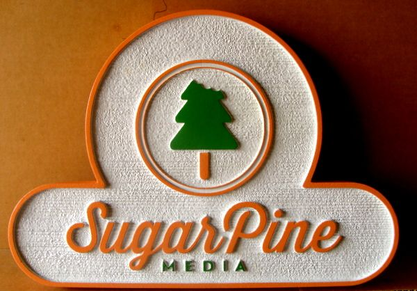 """SA28759 -  Carved HDU Sign for """"Sugar Pine Media""""  with Tree"""