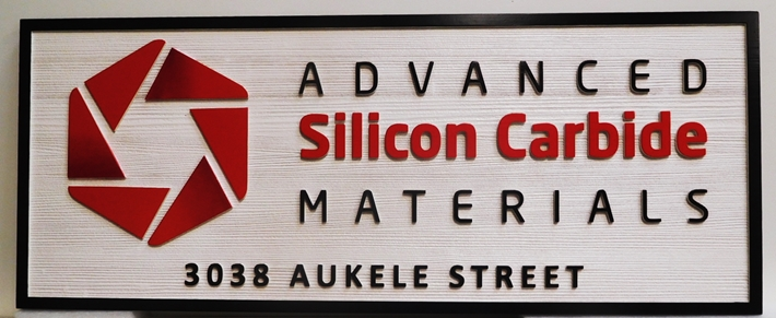 "S28127 - Carved and Sandblasted Wood Grain  HDU Commercial Sign  for the ""Advanced Silicon CarbideMaterials "" Company,  2.5-D Artist-Painted"