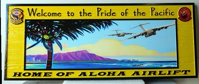 M5222 - Carved Artist-painted  Cedar Wood Sign for the US Air Force's Aloha Airlift