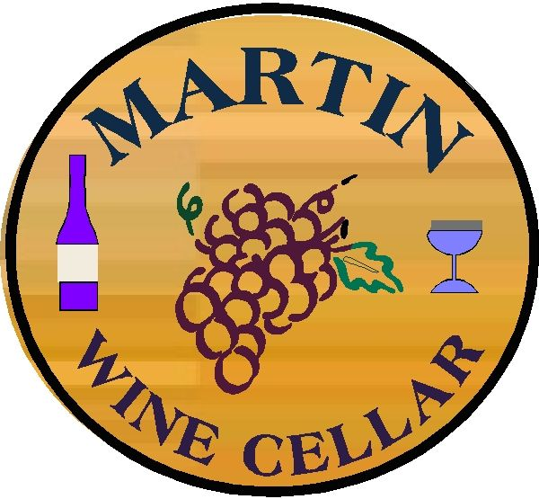 R27360 - Round Engraved Cedar Wood Plaque for Martin Wine Cellar
