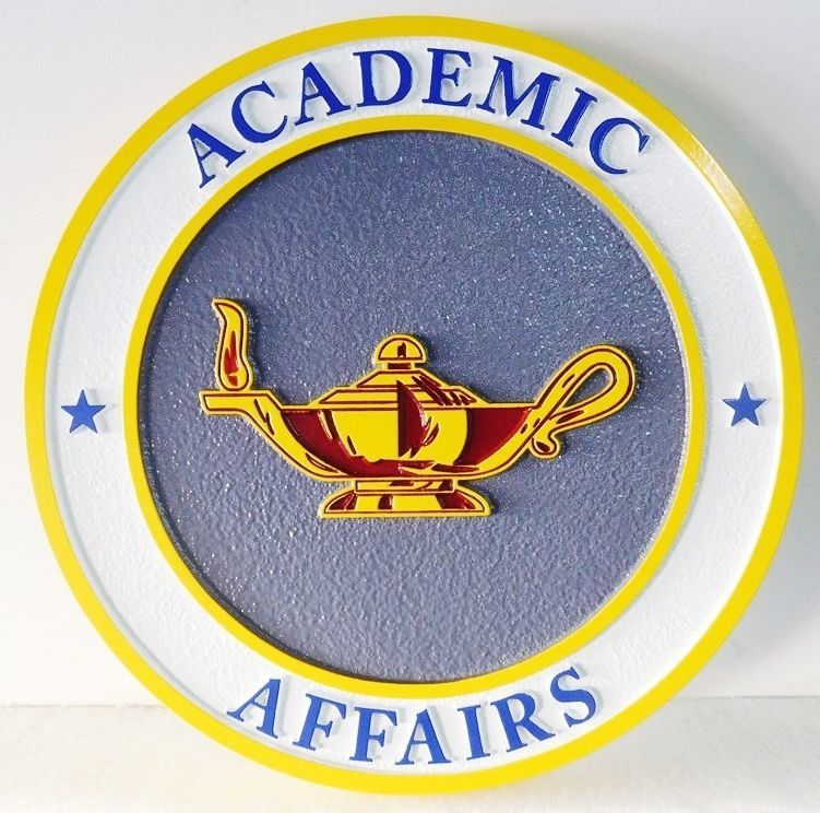 RP-1180 - Carved Wall Plaque of  the Emblem of Academic Affairs,  Artist Painted