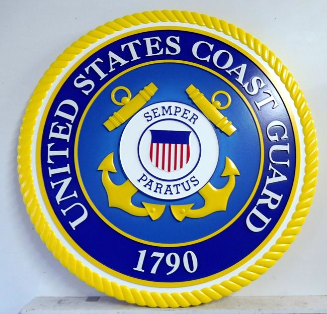 NP-1080- Carved Plaque of the Great Seal of the US Coast Guard, 3-D Artist Painted