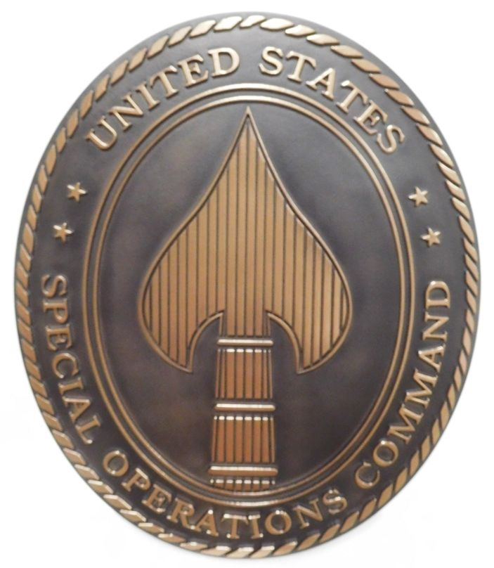 LP-3610 - Carved Plaque of the Crest of the  Special Operations Command, 2.5-D Bronze-plated