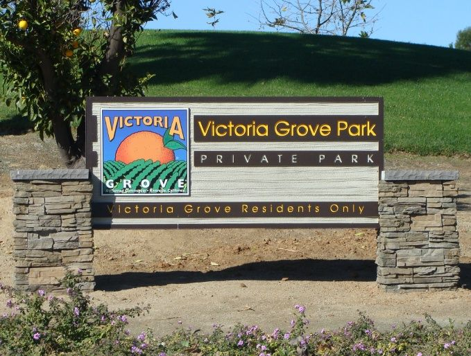 GA16445 - Carved HDU Sign for Orange Grove Private Park for Residents Only