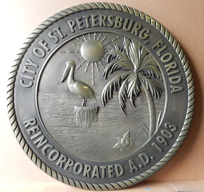 X33155 - 3-D Carved Nickel-Silver Coated Wall Plaque of the Seal of St. Petersburg, Florida, with Pelican and Palm Tree