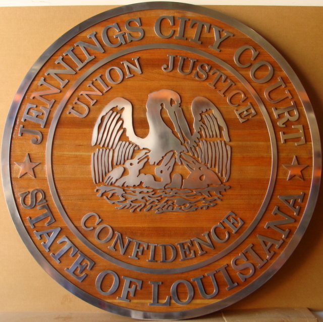 W32231 - Custom  2.5-D Cedar Wood  Plaque with Aluminum Text and Art, Made  for the Jennings City Court in Louisiana.