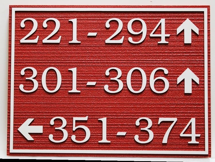 KA20847A -  Carved 2.5-D and Sandblasted HDU Apartment ComplexUnit NumberSign