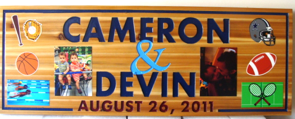 "N23004 - Cedar Wall Plaque with Photos and Illustrations (Printed Vinyl Appliques), ""Cameron and Devin"""