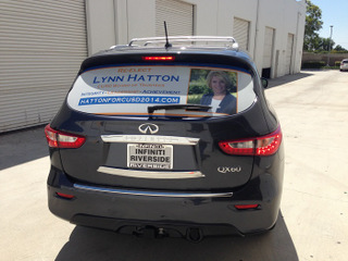 Vehicle vinyl window perf for election campaigns in Orange County