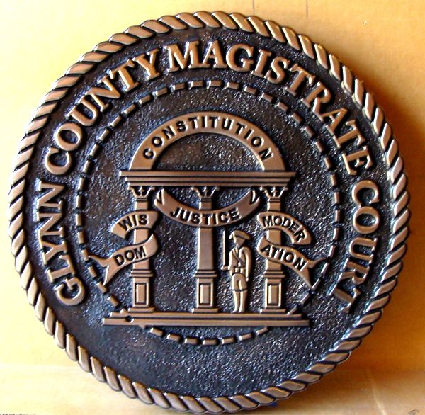 X33353 - Carved 2.5-D Bronze Plaque of the Great Seal of Georgia for Glynn County (Magistrate Court)