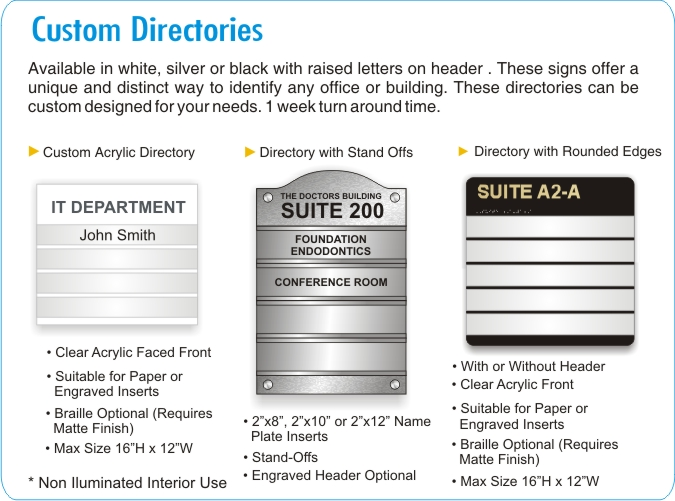 Custom Office Directory Signs