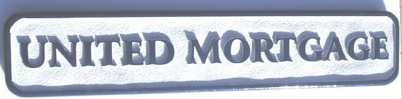 "SA28640 - Carved and Sandblasted HDU Sign for ""United Mortgage"" Company"