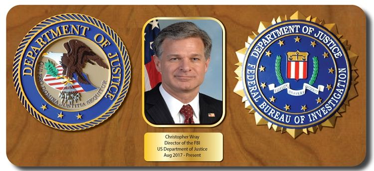 EA-1057 - Mahogany plaque for the Director of the FBI, Christopher Wray, with Photo and Seals of the Department of Justice and FBI