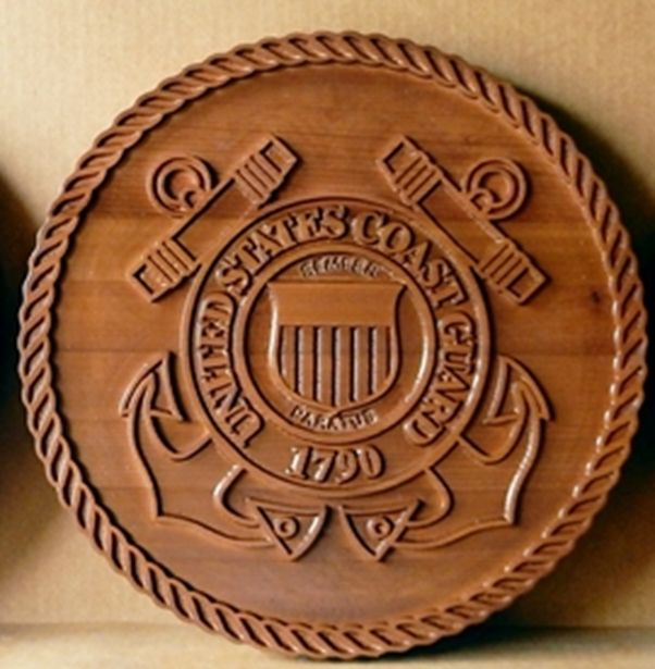 V31913 - Carved 2.5-D Cedar Wall Plaque of the Seal of the US Coast Guard, with Crossed Anchors