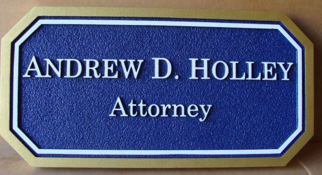 A10224 - Carved and Sandblasted Attorney Sign with Raised Name and Border