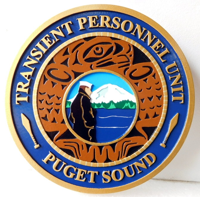 NP-2255 - Carved Plaque of Seal  of the US Coast Guard Transient Personnel Unit,  Puget Sound, Artist Painted