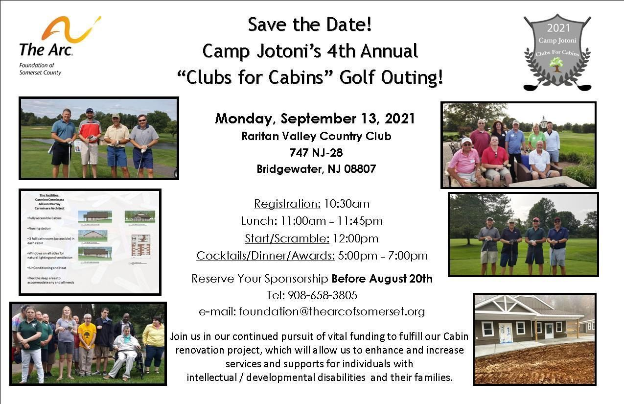 """Join Us for the 4th Annual """"Clubs for Cabins"""" Golf Outing for Camp Jotoni"""