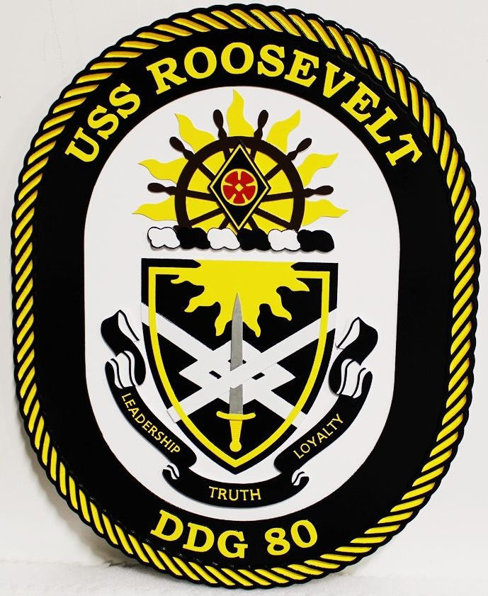 JP-1292 - Carved Plaque of the Ship's Crest of the USS Roosevellt Destroyer DDG 30,  2.5-D Multi-Level  Relief, 2.5-D Artist-Painted