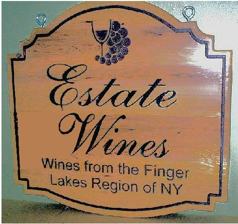 "R27310 - Engraved Cedar Wood Wine Ship Sign,  ""Estate Wines"""