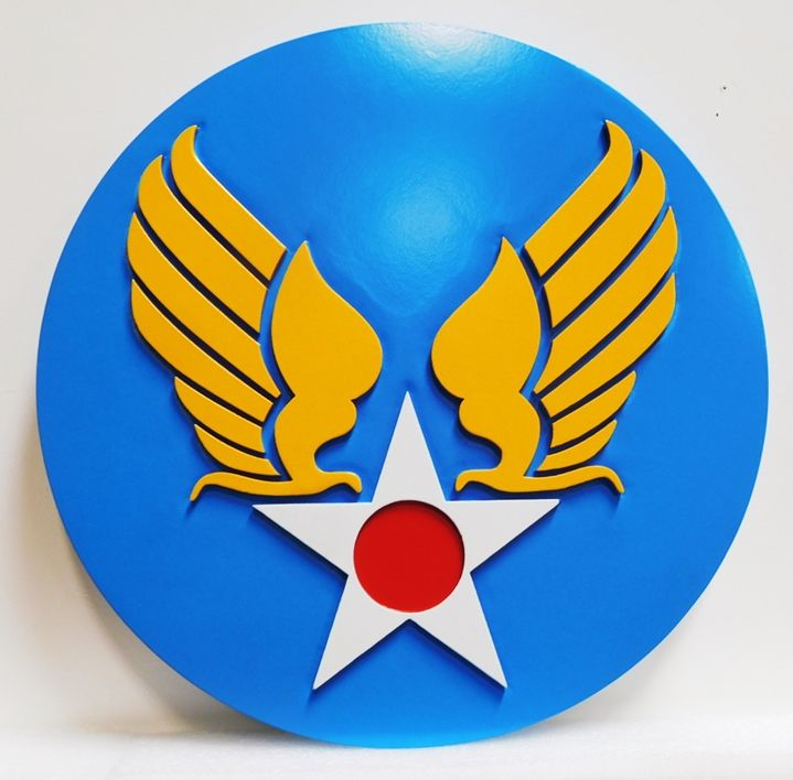MP-1830 - Carved Plaque of the Insignia of US Army Aviation, 2.5-D Artist-Painted