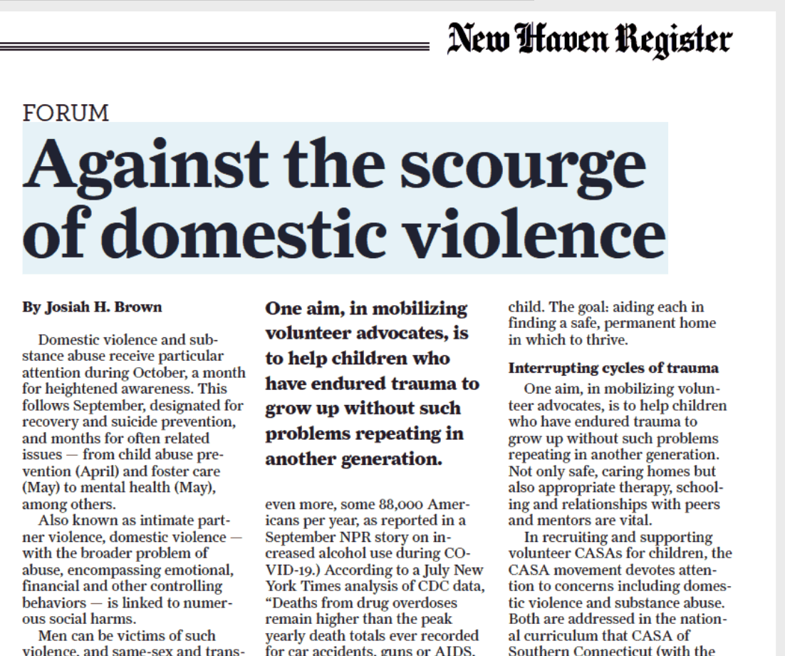 """Against the scourge of domestic violence"" (and child abuse, substance abuse)"