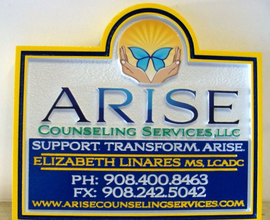 """B11239 - Elegant  Carved and Sandblasted HDU Sign for """"Arise LLC""""  Counseling Services with Butterfly"""
