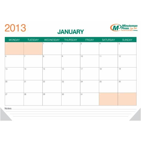 12pp A2 Desk Pad Calendars