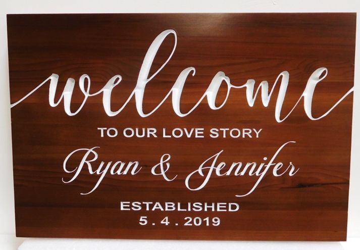 """N23065 - Carved Mahogany Wall Plaque with Engraved Text """"Welcome to our Love Story"""""""