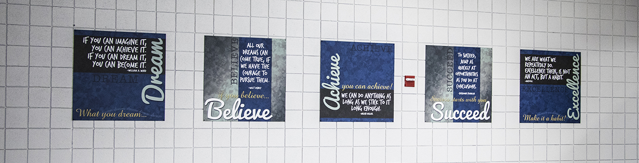 Dream Believe Achieve Succeed Excellence school signs, murals, educational posters
