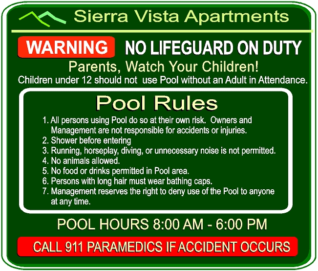 "GB16320- Carlson, HDU With Extensive List of Apartment Swimming Pool Rules lncluding ""Warning No Lifeguard On Duty"" and ""Paramedics 911"""