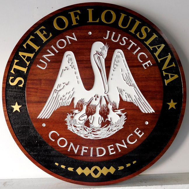 M3113 - Carved Mahgogany Plaque for the State of Louisiana with Carved Brown Pelican State Emblem (Gallery 33)