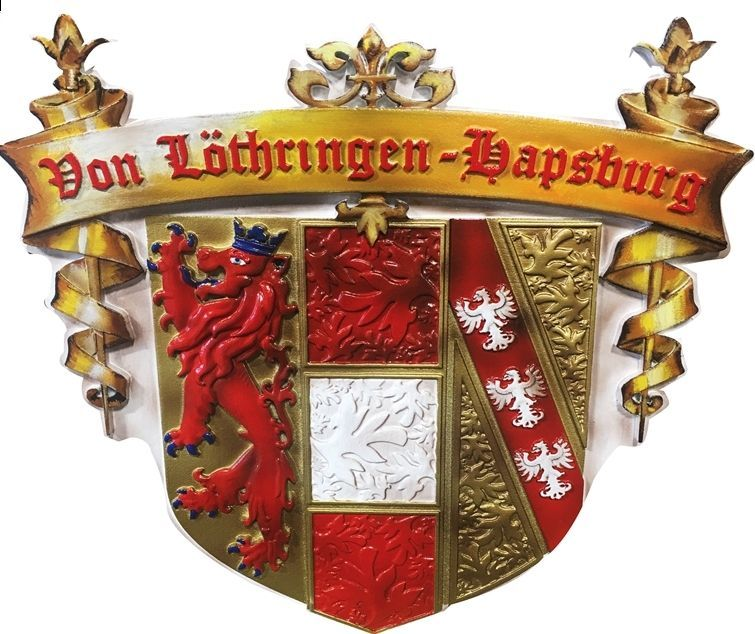 XP-1003 - Carved 3-D HDU Plaque of a German Coat-of-Arms with a Shield with a Rampant Lion and an Eagle
