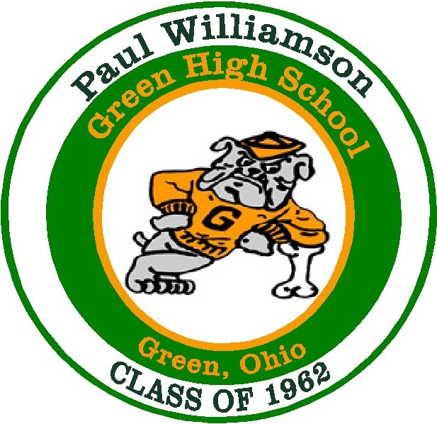 Y34745 - Carved 2.5-D  Flat-Relief HDU Wall Plaque of the Logo (Bulldog) of Green High School