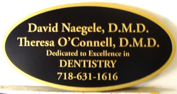 BA11623 - Dental Office Oval Sign, Black & Gold