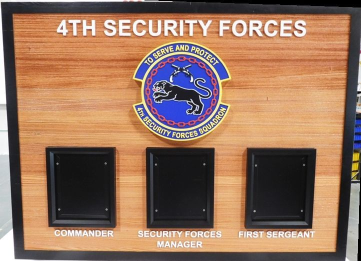 SA1150 - Chain-of-Command Photo  Plaque for the 4th Security Squadron, US Air Force,  Carved from Western Red Cedar,