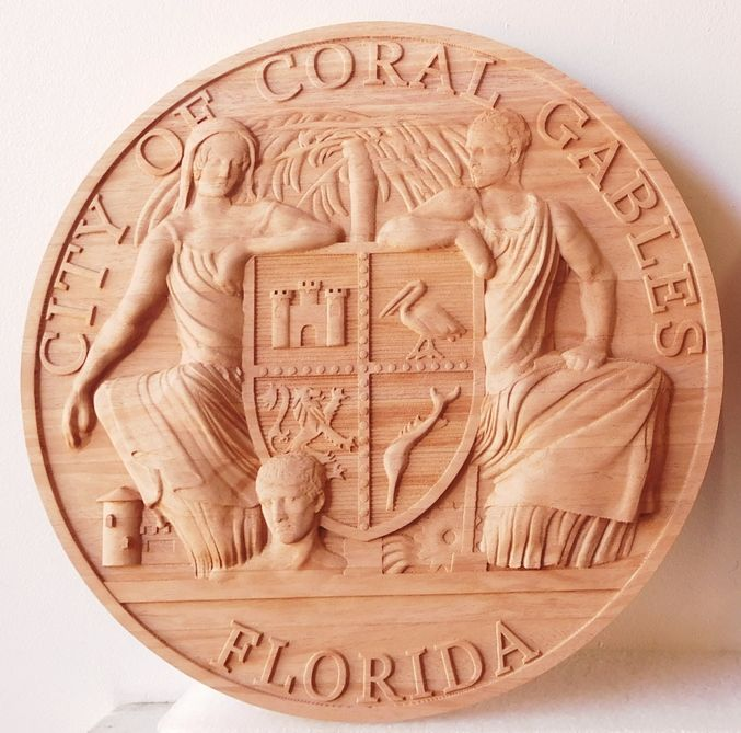 X33033 - Carved 3-D Lightly Stained   African Mahogany Wall Plaque of the Seal of Coral Gables, Florida