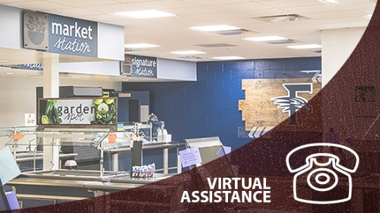 Descon virtual assistance link, shows school café serving line with custom signs, school signage company