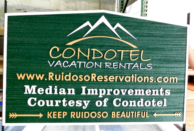 M22217 - Carved and Sandblasted HDU Condhotel  Entrance Sign with Mountains