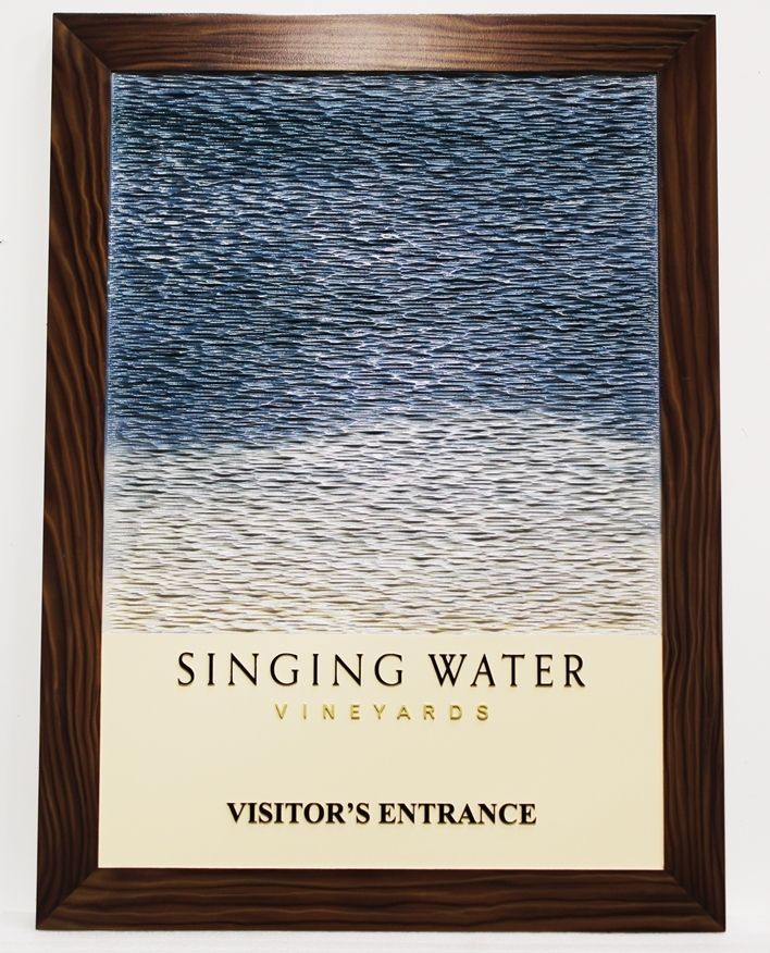 R27062 - Carved 3-D HDU sign for the Singing Waters Vineyard, with Water Waves and Wood Frame as Artwork